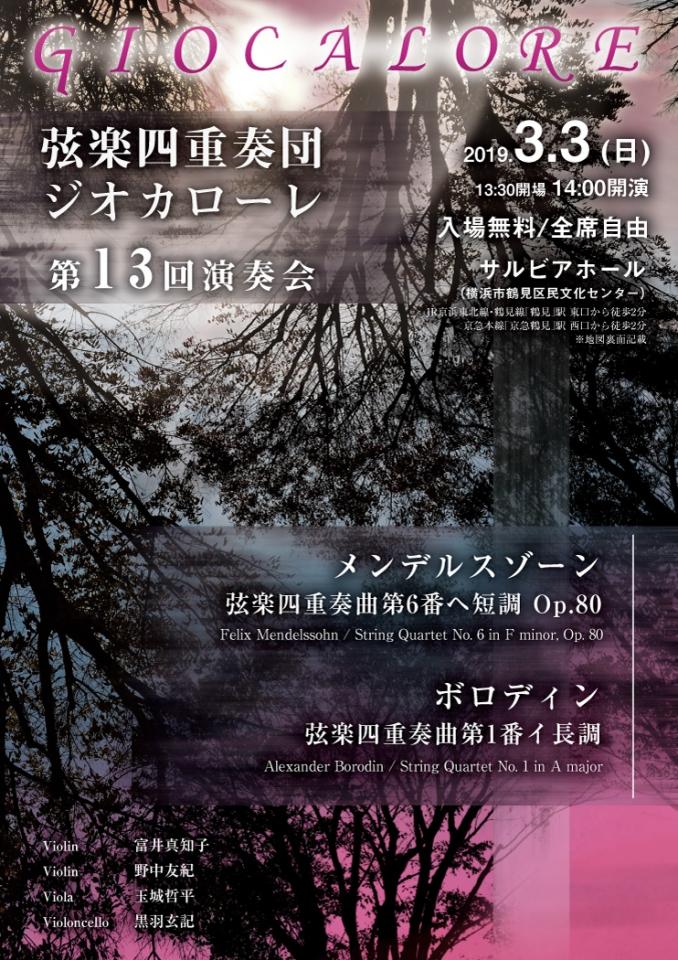 弦楽四重奏団ジオカローレ 第13回演奏会